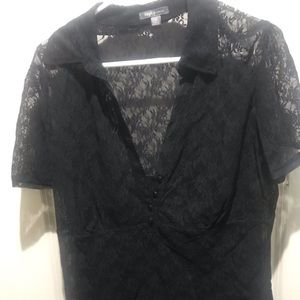 Apt. 9 1X Black Lace Blouse